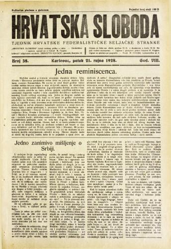 Hrvatska sloboda: 1928. • 38