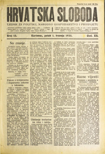 Hrvatska sloboda: 1932. • 13