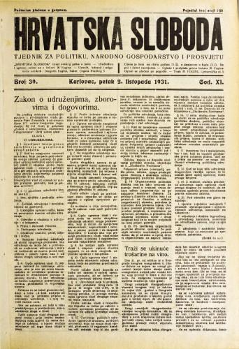 Hrvatska sloboda: 1931. • 39