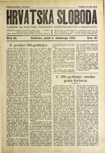 Hrvatska sloboda: 1929. • 45