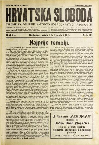 Hrvatska sloboda: 1929. • 16