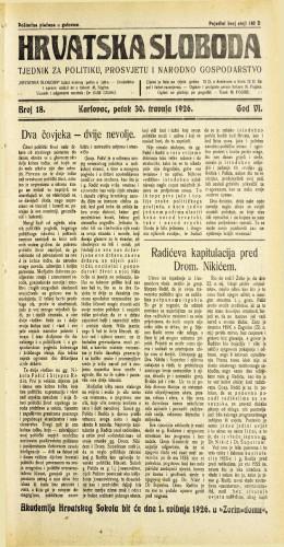 Hrvatska sloboda: 1926. • 18