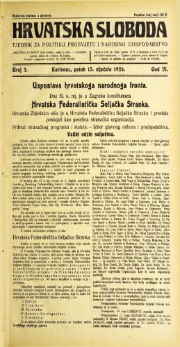 Hrvatska sloboda: 1926. • 3
