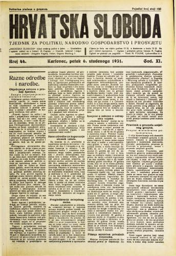 Hrvatska sloboda: 1931. • 44