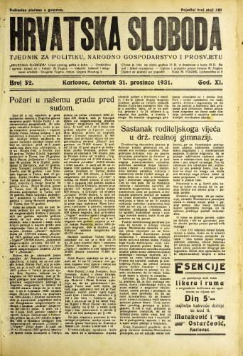 Hrvatska sloboda: 1931. • 52