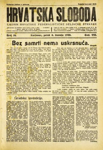 Hrvatska sloboda: 1928. • 14