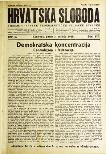 Hrvatska sloboda: 1928. • 5