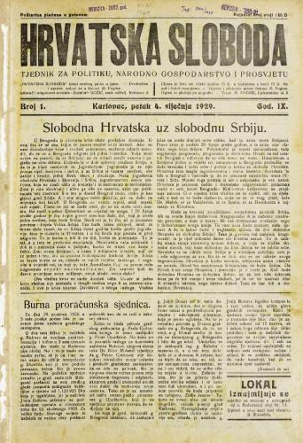 Hrvatska sloboda: 1929. • 1