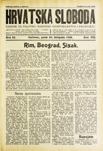 Hrvatska sloboda: 1928. • 43