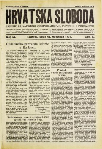 Hrvatska sloboda: 1930. • 46