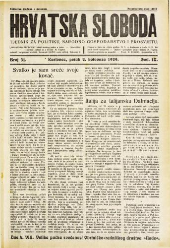 Hrvatska sloboda: 1929. • 31