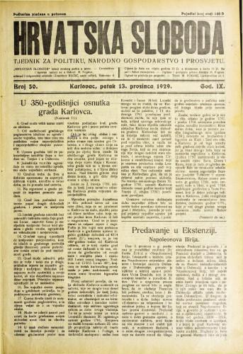 Hrvatska sloboda: 1929. • 50