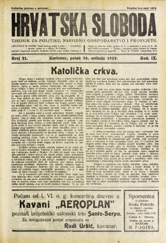 Hrvatska sloboda: 1929. • 21