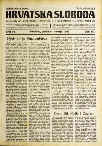 Hrvatska sloboda: 1927. • 14