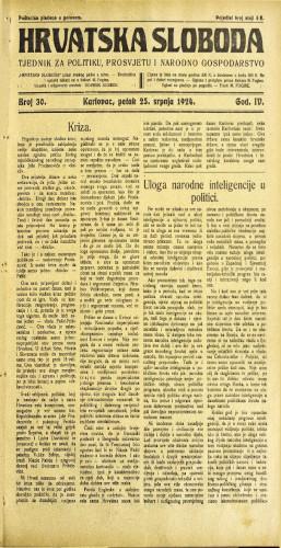 Hrvatska sloboda: 1924. • 30