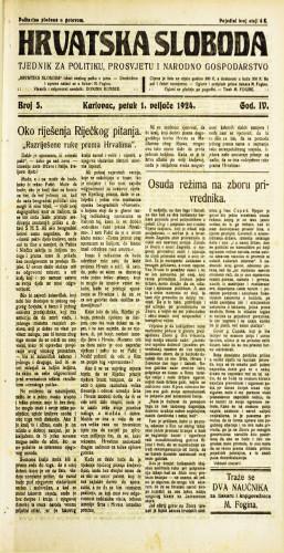 Hrvatska sloboda: 1924. • 5