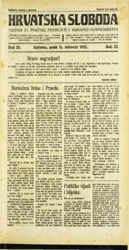 Hrvatska sloboda: 1923 • 35