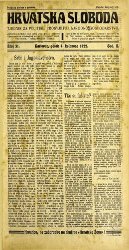 Hrvatska sloboda: 1922 • 31