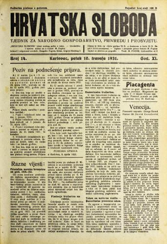 Hrvatska sloboda: 1931. • 14