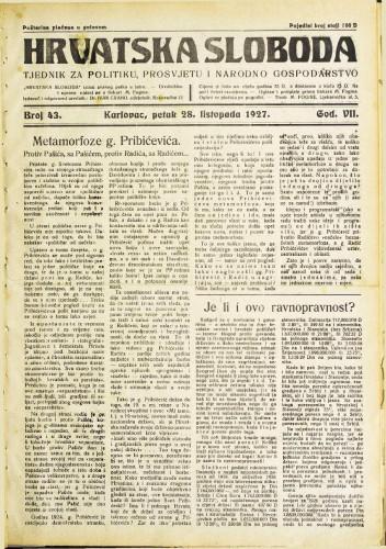 Hrvatska sloboda: 1927. • 43