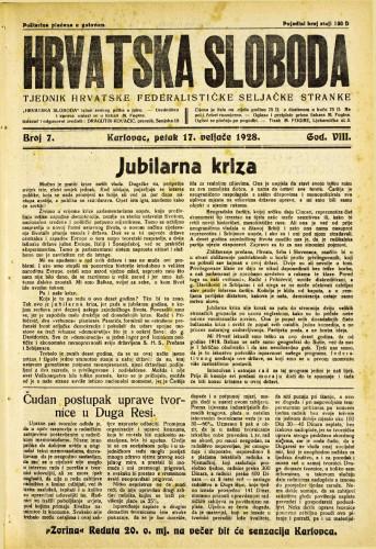 Hrvatska sloboda: 1928. • 7