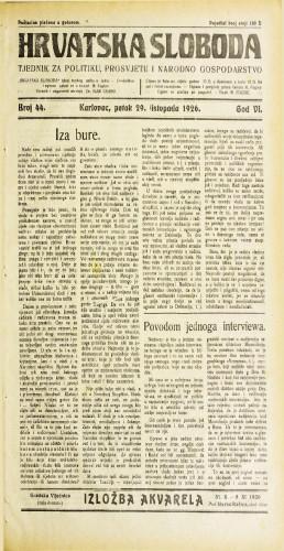 Hrvatska sloboda: 1926. • 44