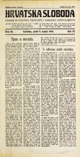 Hrvatska sloboda: 1926. • 28