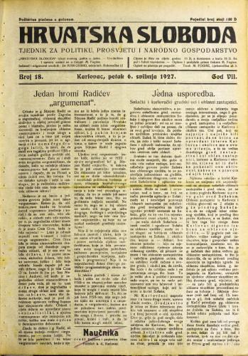 Hrvatska sloboda: 1927. • 18