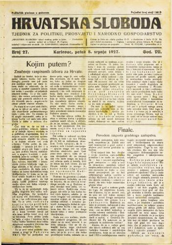 Hrvatska sloboda: 1927. • 27