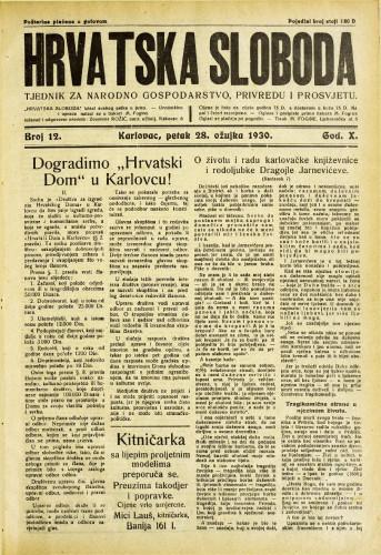 Hrvatska sloboda: 1930. • 12