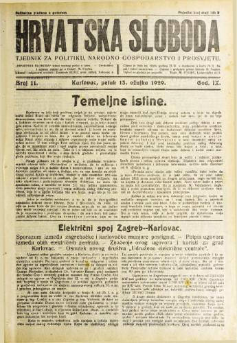 Hrvatska sloboda: 1929. • 11