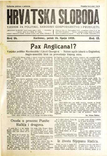 Hrvatska sloboda: 1929. • 24