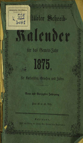 Karlstädter Schreib - Kalender – 1875.