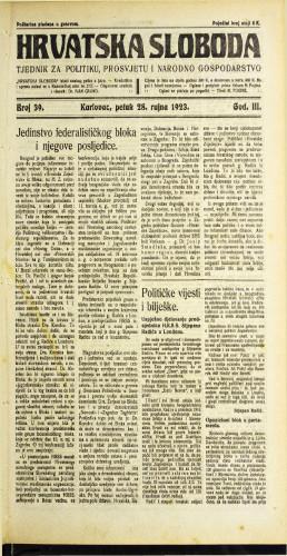 Hrvatska sloboda: 1923 • 39