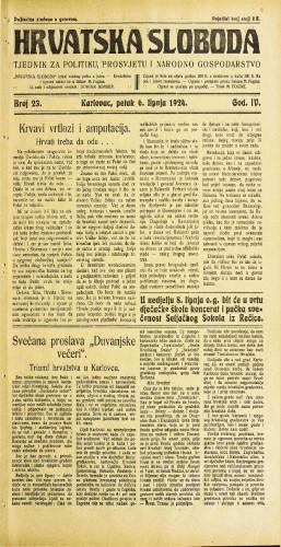 Hrvatska sloboda: 1924. • 23