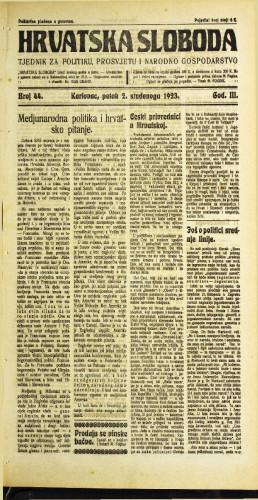Hrvatska sloboda: 1923 • 44