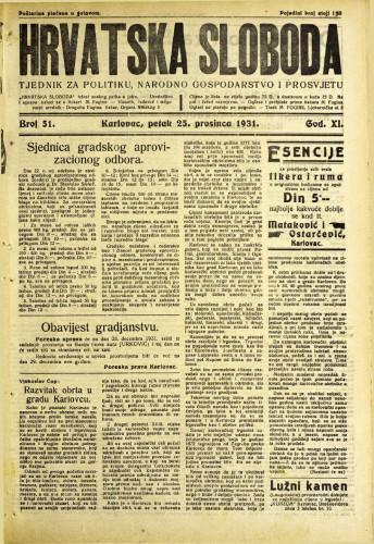 Hrvatska sloboda: 1931. • 51