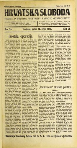 Hrvatska sloboda: 1926. • 39