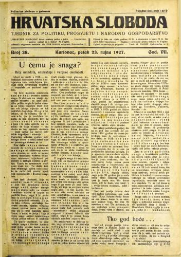 Hrvatska sloboda: 1927. • 38