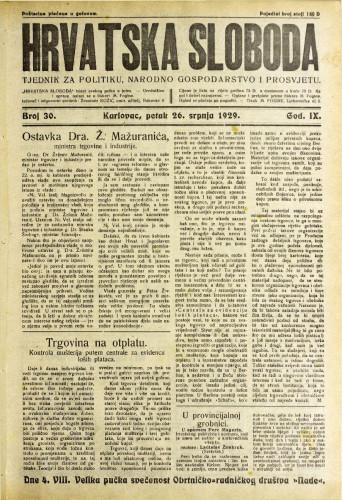 Hrvatska sloboda: 1929. • 30