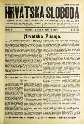 Hrvatska sloboda: 1929. • 6