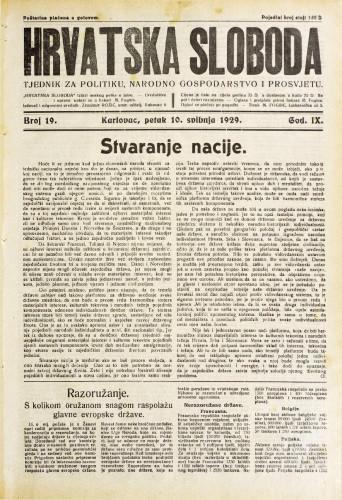 Hrvatska sloboda: 1929. • 19