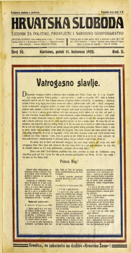 Hrvatska sloboda: 1922 • 32