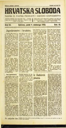 Hrvatska sloboda: 1923 • 45