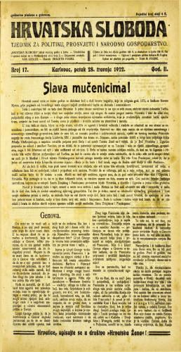 Hrvatska sloboda: 1922 • 17