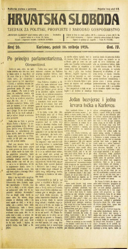 Hrvatska sloboda: 1924. • 20
