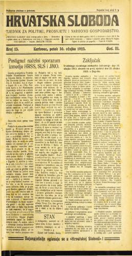 Hrvatska sloboda: 1923 • 13