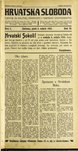 Hrvatska sloboda: 1923 • 5