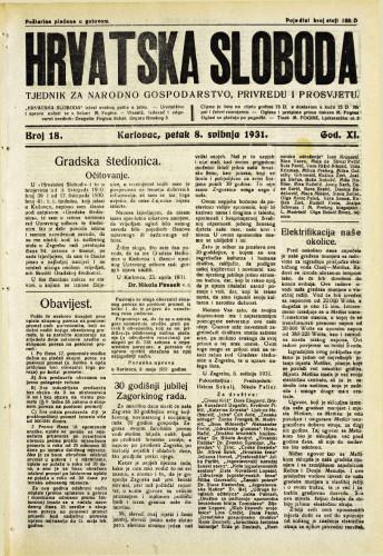 Hrvatska sloboda: 1931. • 18