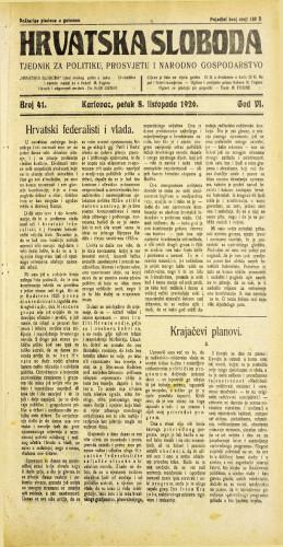 Hrvatska sloboda: 1926. • 41